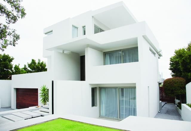 Modern house and backyard